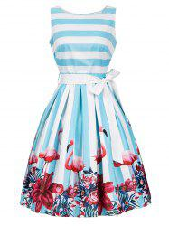 Floral and Striped Tie Belt Sleeveless Dress