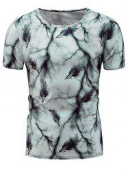 Short Sleeve Feather Tie Dye Print T-Shirt