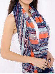 Boho Geometric Pattern Wrap Scarf with Tassels