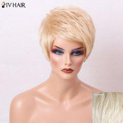 Siv Hair Layered Short Side Bang Pixie Straight Human Hair Wig - OFF-WHITE