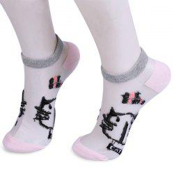 Glass Silk Cartoon Cat Lettes Embroidered Socks