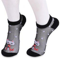Cartoon Cat Tiny Heart Glass Silk Socks - Noir