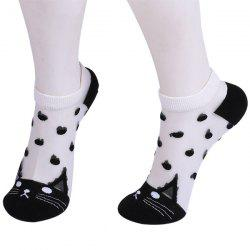 Kitten Polka Dot Embroidered Glass Silk Socks - BLACK