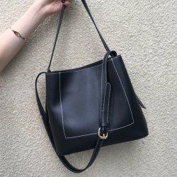 Stitching Faux Leather Shoulder Bag