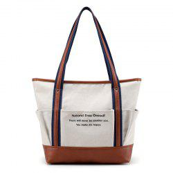 Letter Print Contrast Trim Canvas Shoulder Bag