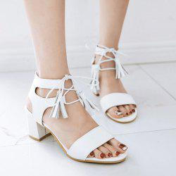Lace Up Tassels Mid Heel Sandals