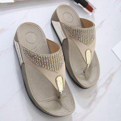 Platform Rhinestones Slippers - GOLDEN