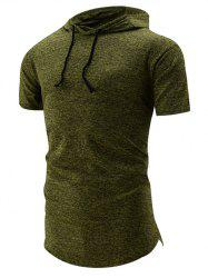 Curved Hem Space Dye Hooded T-Shirt