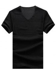 Knitted Grid Mesh V Neck T-Shirt