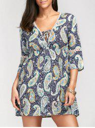 Paisley Print Empire Waist Plunging Tunic Dress