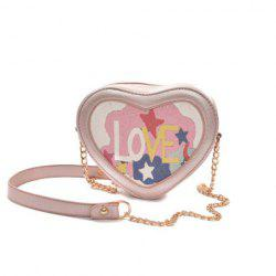 Love Printed Heart Shaped Crossbody Bag