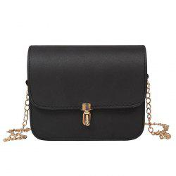 Push Lock Chain Cross Body Bag - BLACK
