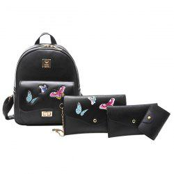 Butterfly Embroidered 4 Pieces Backpack Set - BLACK