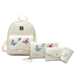 Butterfly Embroidered 4 Pieces Backpack Set