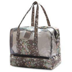 Multifunctional Print Mesh Panel Bag - COFFEE