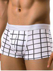 Checked Pattern Panel U Pouch Boxer Briefs - WHITE