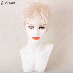 Siv Hair Shaggy Silky Short Straight Side Bang Pixie Human Hair Wig - OFF-WHITE