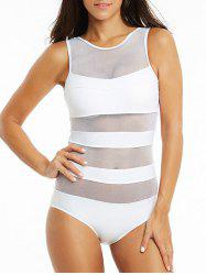 See-Through Mesh One-Piece Swimsuit