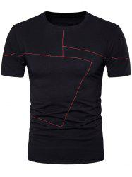 Two Tone Stitching Short Sleeve Slim Fit T-Shirt