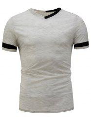 Color Block Panel V Neck Varsity Stripe T-Shirt
