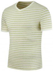 Short Sleeve V Neck Striped Tee