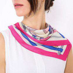 Fine Artificial Silk Geometric Pattern Square Scarf