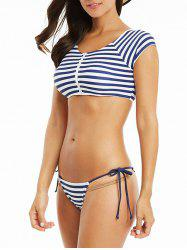 Striped Zippered Thong Bikini Set