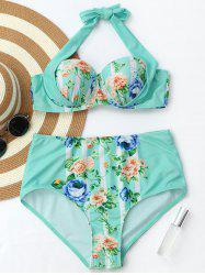 Rose Print Halter High Waisted Bikini