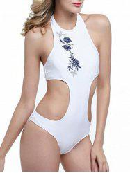 High Neck Floral Embroidered Monokini