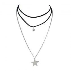 Rhinestone Faux Suede Fabric Star Layered Choker Necklace