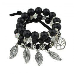 Owl Life Tree Leaves Beaded Bracelet Set