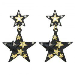 Multilayered Rhinestone Star Drop Earrings