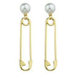 Alloy Faux Pearl Pin Drop Earrings