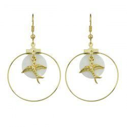 Alloy Peace Dove Circle Drop Earrings