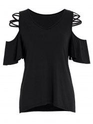 Criss Cross V Neck Cold Shoulder Top