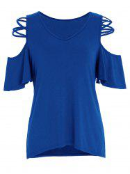 Criss Cross V Neck Top épaule à froid - Bleu L