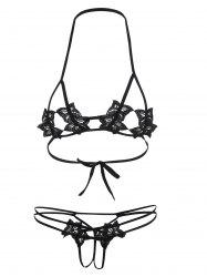Cupless Micro Halter Crochet Shelf Bra Set - BLACK
