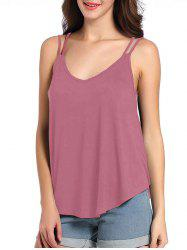 Loose Fit Cutout Spaghetti Strap Tank Top - RUSSET-RED