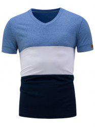 Color Block Panel V Neck Short Sleeve T-Shirt
