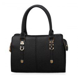 Pebbled PU Leather Metal Detail Tote Bag