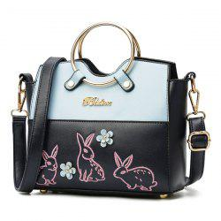 Rabbit Embroidered Metal Ring Handbag - BLUE