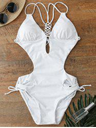 Lace Up Hollow Out One Piece Swimwear