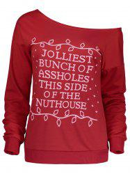 Christmas Letter Print Skew Neck Sweatshirt - RED