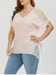Plus Size Lace Trim Slit Sleeve T-Shirt