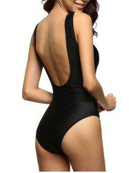 Backless One Piece Swimwear - BLACK