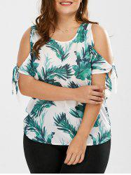 Plus Size Bowtie Cutout Shoulder Leaf Print Top