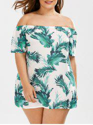 Plus Size  Off The Shoulder Leaf Printed Top