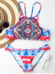 Tribal Print Crop Top Bikini Set