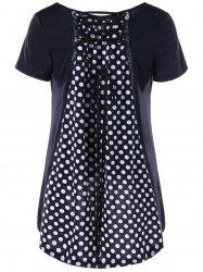 Polka Dot Lace Up High Low T-Shirt