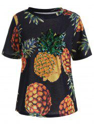 Short Sleeve Pineapple Print Sequin Tee